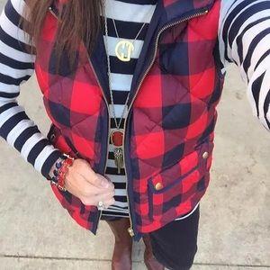 Jackets & Blazers - Red & Black Plaid Puffer Vest Sz S