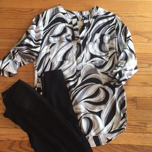 Michael Kors Tunic, Black/Gray/White Swirl sz 4