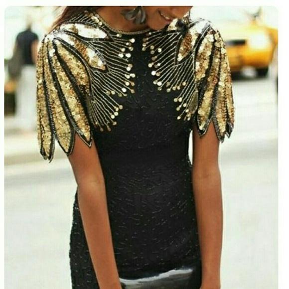 2f0fb27802 Vintage Stenay Gold Sequin Dress. M 5a258b085a49d0adea0d1fac