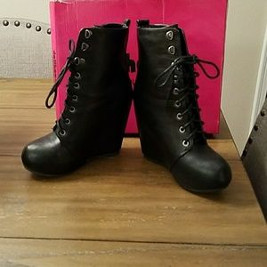 4eff39698c1b Dollhouse Shoes - Black faux leather wedge boots