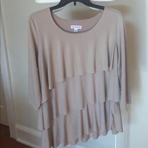 3/4 sleeve Tan asymmetrical ruffle top