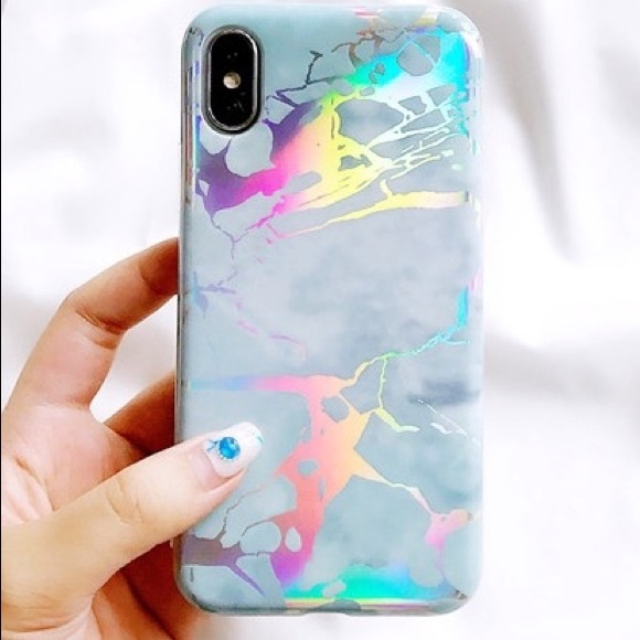 the latest b8fbe 709ee iPhone X Holo chrome Holographic Marble case Mint