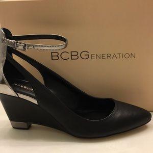 BCBGeneration Black/Pewter Wedge Heels