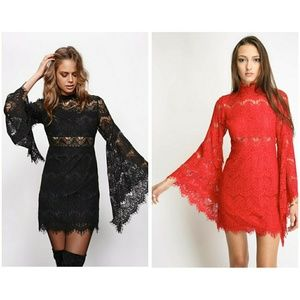 Mink Pink Drama Queen Pink lace bell sleeve dress
