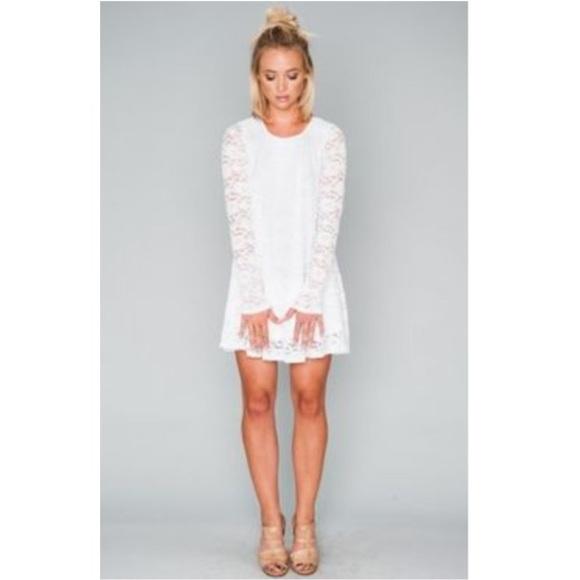 382002997da5 SMYM White Floral Lace Long Sleeve Mini Dress. M 5a27108cfbf6f9c8d00064b7