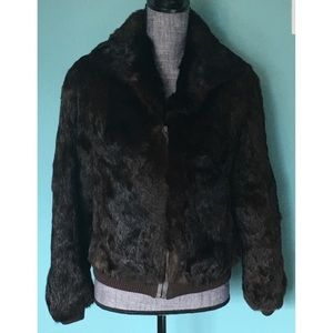 Vintage 70s Rabbit Fur Jacket Dark Brown Zip Up