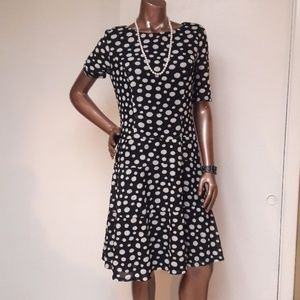 Anne Klein Fit and Flare Polka Dot Dress