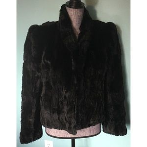 Gorgeous Vintage 80s Rabbit Fur Jacket Black Open