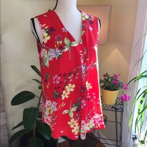 Rose & Olive brand red floral sleeveless blouse