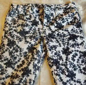 Pants - Black and white flower pants.
