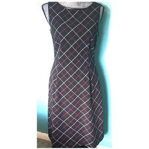 Ann Taylor Plaid & Leather Look Sheath Dress 6