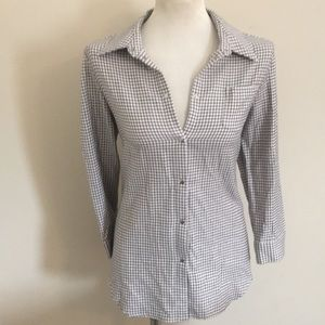 Elizabeth and James M checkered button up ruched