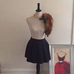 Black Cotton Pleated Skater Skirt