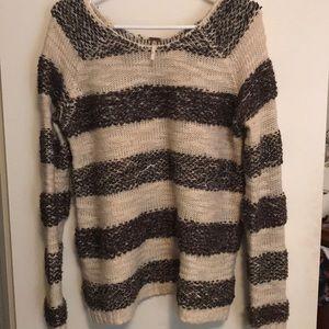 Free People Fuzzy Striped Sweater