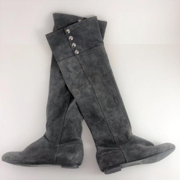 41eddc09b4323 Chinese Laundry Shoes | Tripin Gray Suede Otk Leather Boot | Poshmark