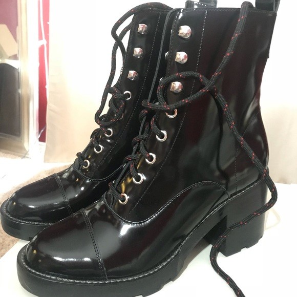 e8ac7d40807e Wanya patent leather block heel combat booties