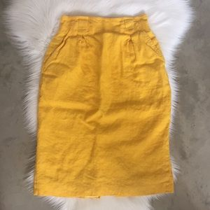 Vintage Canary Yellow High Waist Linen Skirt Sz 8