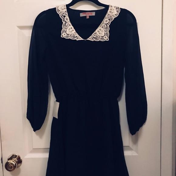 Asos Dresses Petite Black Dress With White Collar Size 4 Poshmark