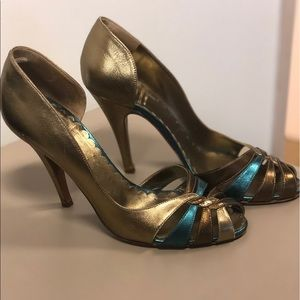 Moschino Gorgeous Gold and Teal Heels