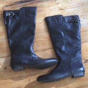 Aldo Black Leather Riding Boots Size 10