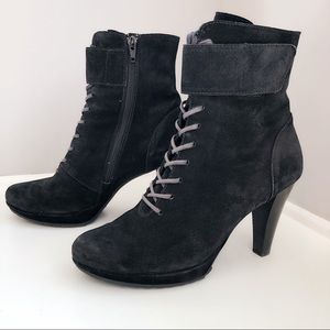 PAUL GREEN Austria Ankle Boots Suede Heels Shoes
