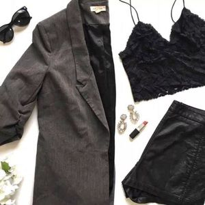 UO Silence+Noise Ruched Sleeve Gray Blazer