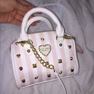 Betsey Johnson Pink and White Purse