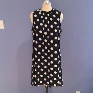 Black White Polka Dot Sleeveless Shift Dress - L