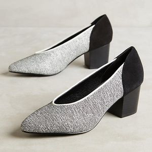 Intentionally Blank Woven Raffia Suede Pumps
