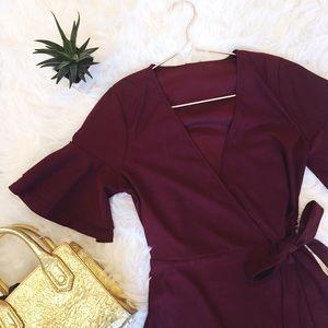 Beautiful Burgundy Wrap Dress