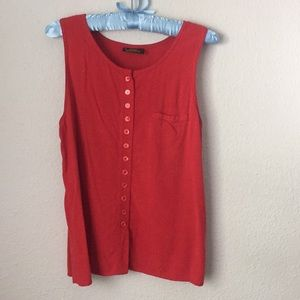 Vintage Red Button Up Tank Top