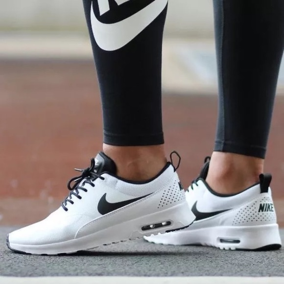 new arrival ae4a3 6eede Women s Nike Air Max Thea White + Black Sneakers