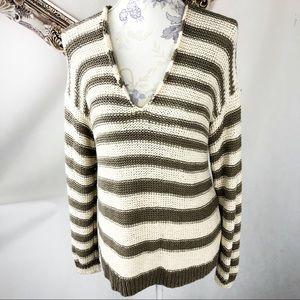 Vince cotton knit v neck striped sweater cream