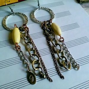 Jewelry - Handmade Earrings, Tibetan Silver Chain Earrings