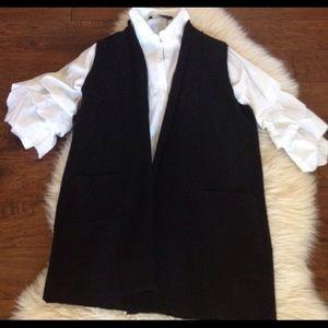 Nanette Lepore Merino Wool Long Black Sweater Vest