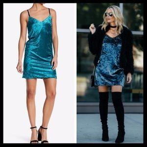 love ady // velvet camisole teal slip dress NWOT