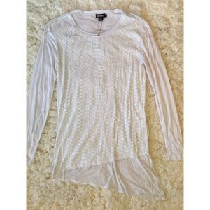 White Sz Small DKNY Sequin ALine Long Sleeve Shirt