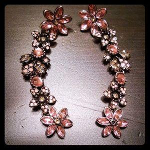 Dangling Flower Earrings Pink