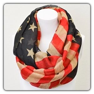 Accessories - USA Flag Infinity Scarf Lightweight Vintage Look