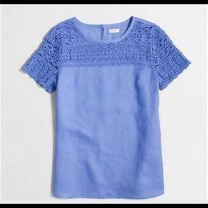Blue Linen J. Crew Factory Lace Top