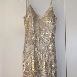 Gold and White Sequin Formal Dress