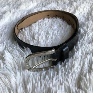 Banana Republic Black Leather Thin Belt