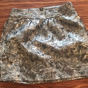 Patterned metallic mini skirt