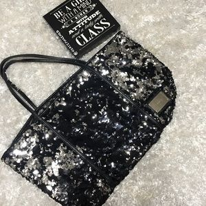 Express silver/black sequined tote.