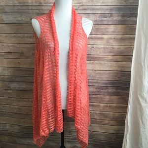 Other - Cute Peach Open Front Vest or Beach Coverup