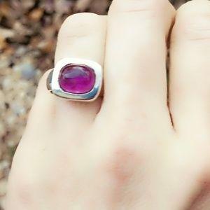 Sleek Sterling Amethyst Modernist Ring