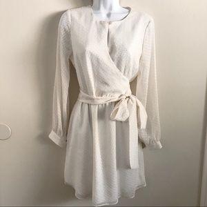 fc0f28a676 Ann Taylor Dresses - Ann Taylor white chiffon long sleeve wrap dress