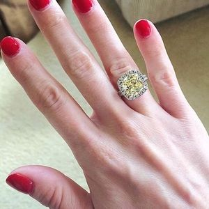 Wedding CUSHION CANARY YELLOW CZ HALO RING