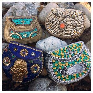 Brass Handmade Natural Stone India Metal Bags