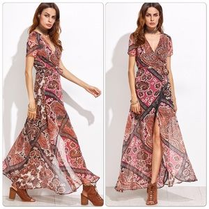 Dresses & Skirts - Gorgeous Tribal Print Self Tie Warp Dress